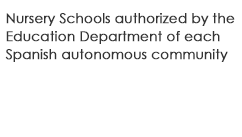 Nursery schools authorized by the department of education in each autonomous community